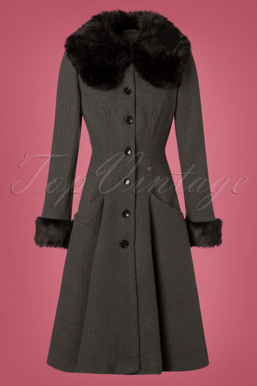 1930s Style Coats, Jackets | Art Deco Outerwear 30s Alise Swing Coat in Charcoal £109.45 AT vintagedancer.com