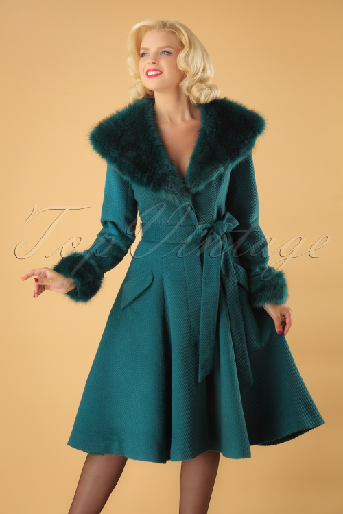 Collectif Clothing 25627 50s Christelle Faux Fur Trimmed Coat 20180704 1W