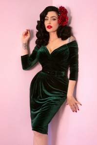 Vixen by Micheline Pitt 50s Startlet Pencil dress in Hunter green