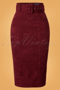 Collectif Clothing 24849 Kayleigh Faux Suede Pencil Skirt 20180702 003W