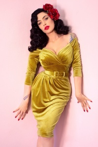 Vixen by Micheline Pitt 50s Starlet Pencil Dress in Gold