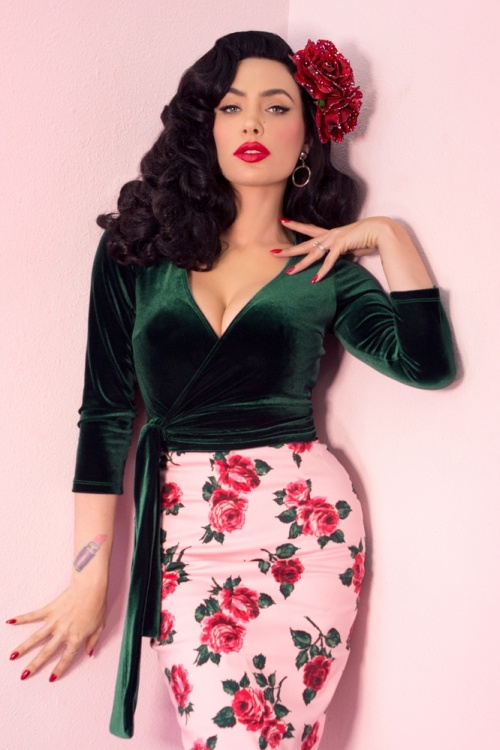 Vixen By Micheline Pitt 27726 Hunter Velvet Green Wrap Top 1