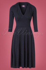 50s The Brooke Pin Dot Dress in Navy