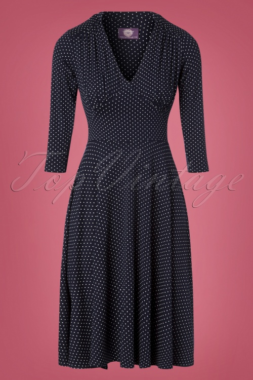 TopVintage Boutique Collection 27818 Navy Blue Pindot Dress 20181205 001W