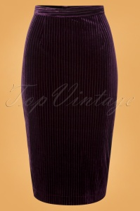 50s Vera Velvet Pencil Skirt in Purple