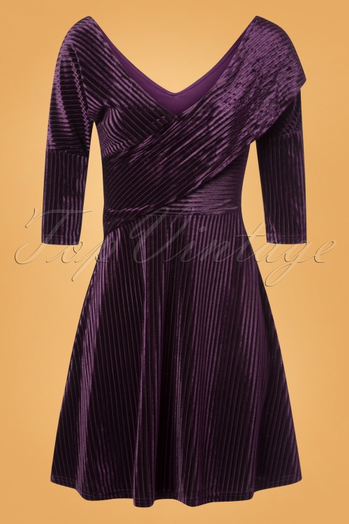 Banned Retro 27744 Veronica Velvet Dress in Aubergine Purple 20181206 002W