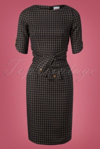 Banned Retro 40s Patricia Check Pencil Dress in Navy and Beige