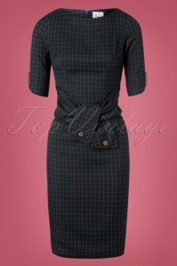 40s Patricia Check Pencil Dress in Navy and Green