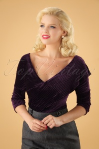 50s Victoria Velvet Top in Purple