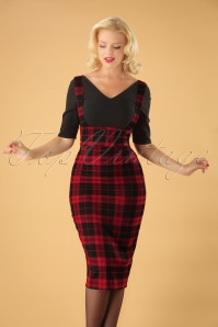50s Karen Rebel Check Pencil Skirt in Black and Red