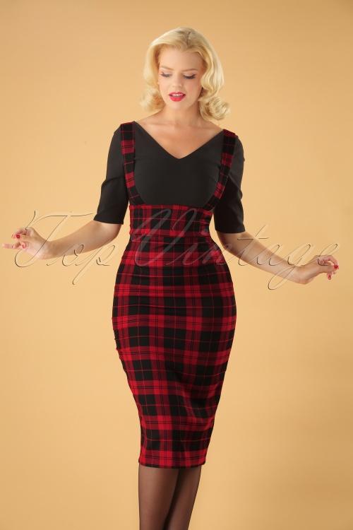 Collectif Clothing 24839 Karen Rebel Check Pencil Skirt 20180626 011W
