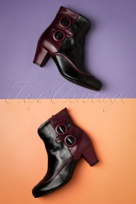 La Veintinueve 60s Ursula Leather Ankle Booties in Black and Burgundy