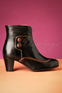 La Veintinueve 60s Olga Leather Ankle Booties in Black and Brown