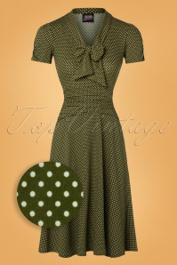 Retrolicious 50s Debra Pin Dot Swing Dress in Olive Green