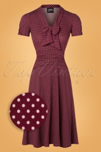 Retrolicious 50s Debra Pin Dot Swing Dress in Burgundy