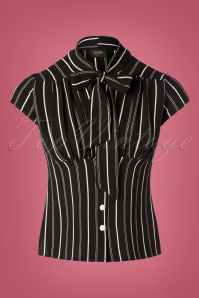 50s Harlow Striped Tie Top in Black and White
