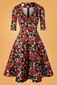 Unique Vintage 50s Delores Roses Swing Dress in Black and Red