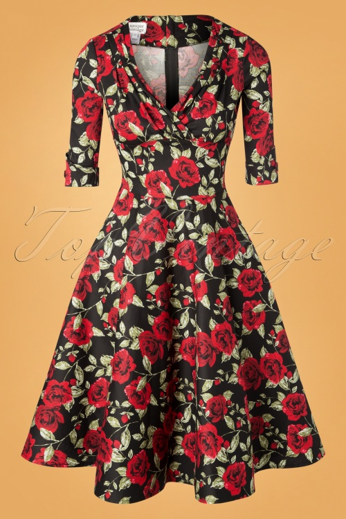 Unique Vintage 27683 Black and Red Roses Swing Dress 20181214 120W