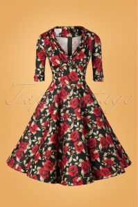 Unique Vintage 27683 Black and Red Roses Swing Dress 20181214 132W