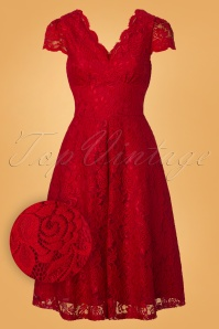 Jolie Moi 50s Jolie Lace Short Sleeve Prom Dress in Red