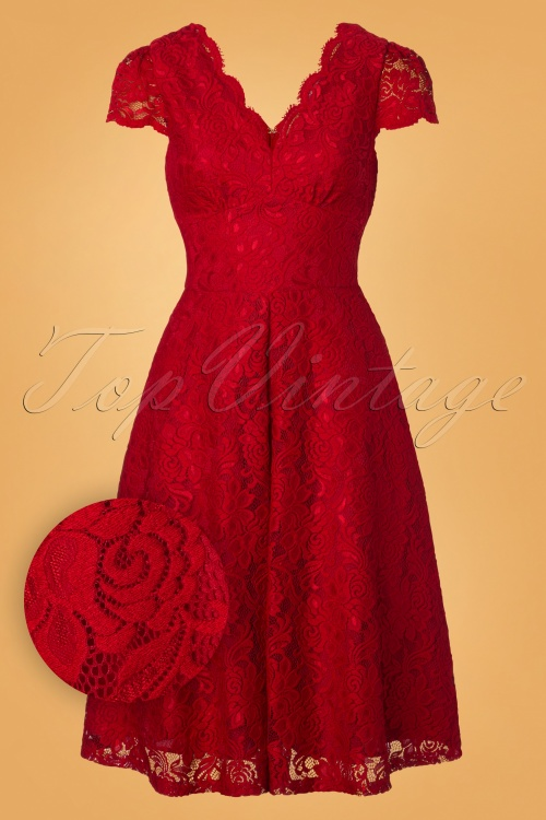 50s Jolie Lace Short Sleeve Prom Dress In Red