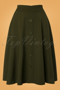 50s Thrills Buttoned Swing Skirt in Olive Green