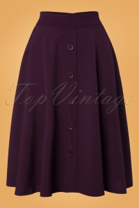 50s Thrills Buttoned Swing Skirt in Plum Purple