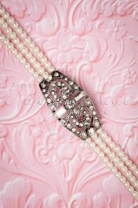 Deco Diamante Pearl Bracelet Années 50 en Argenté