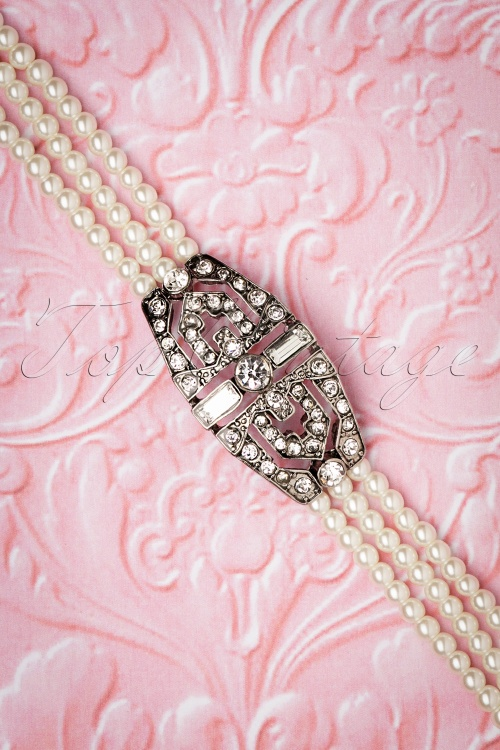 Lovely 28941 Deco Diamond Pearl Bracelet 20181220 031W