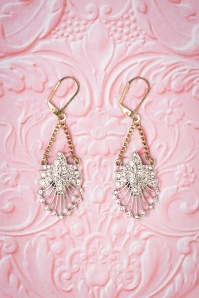 Lovely 20s Deco Statement Drop Earrings in Gold and Silver