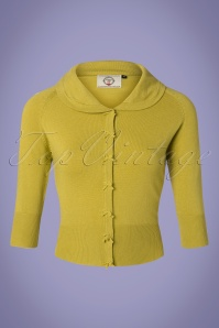 Banned 28556 40s April Bow Cardigan in Lime Green 20181219 002W