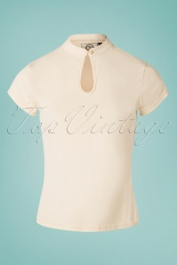 50s Mandarin Collar Top in Cream