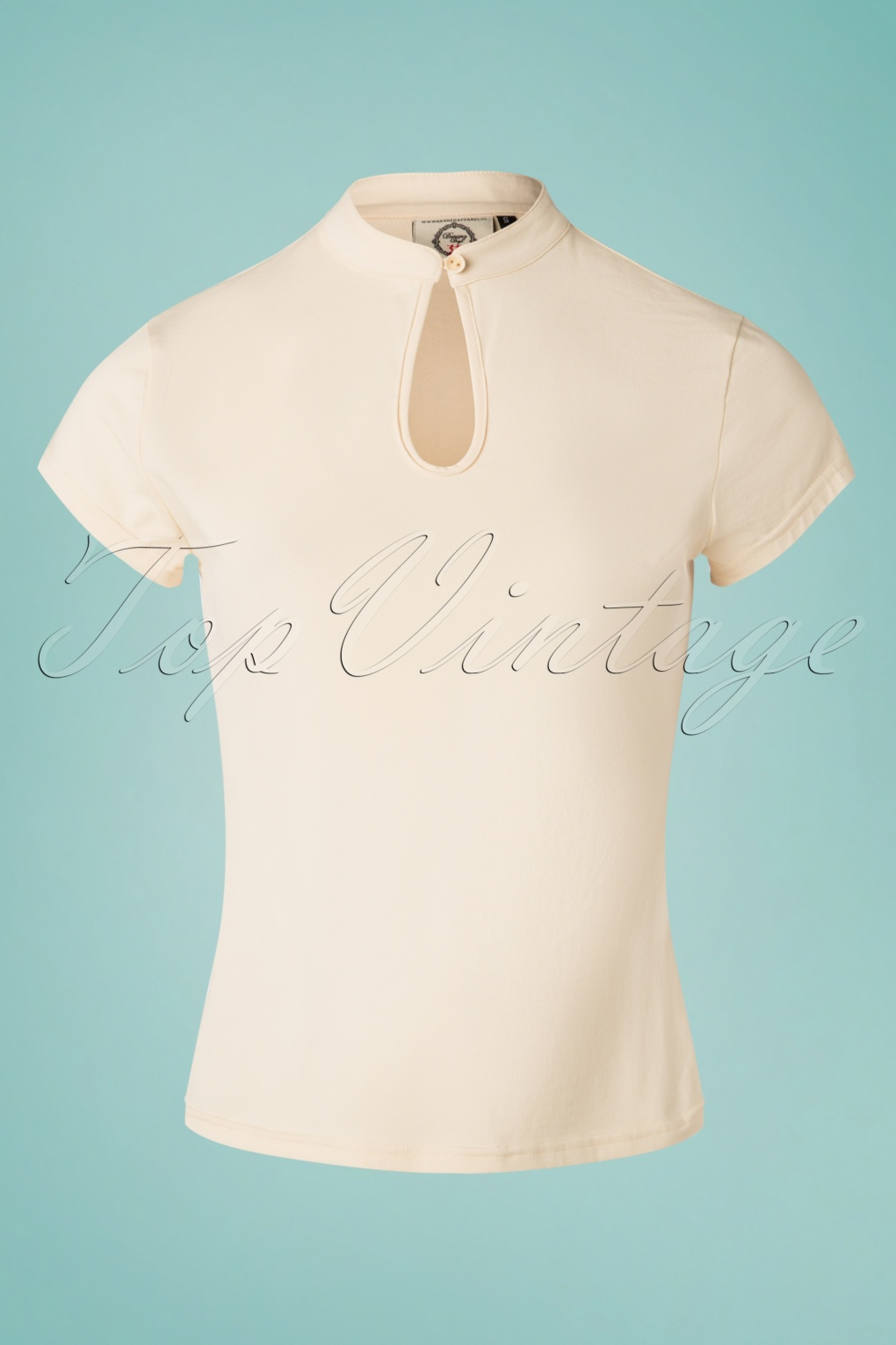 Vintage & Retro Shirts, Halter Tops, Blouses 50s Mandarin Collar Top in Cream £21.38 AT vintagedancer.com