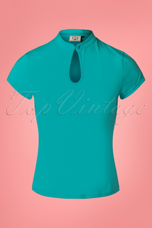 Banned 28548 50s Mandarin Top in Teal 20181218 001W