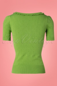 King Louie 27129 Kiwi Green Ruffle Vneck Top Droplet  20181121 007W