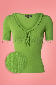 King Louie 27129 Kiwi Green Ruffle Vneck Top Droplet  20181121 002Z