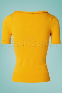 King Louie 27131 Mimosa Yellow Ruffle V Neck Top Droplet 20181121 008W