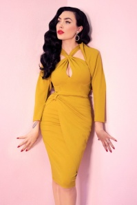 Vixen by Micheline Pitt 30s Golden Pencil Dress in Gold
