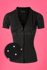 King Louie 27138 Black Celia Blouse Little Dots 20181121 002Z