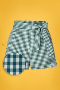 Roisin Vichy Shorts Années 50 en Bleu Lapis