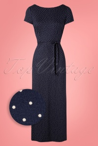 70s Sally Little Dots Maxi Dress in Nuit Blue