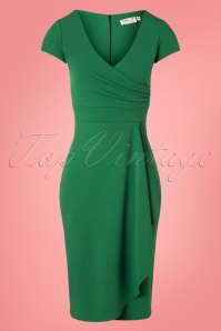 50s Crystal Pencil Dress in Emerald Green