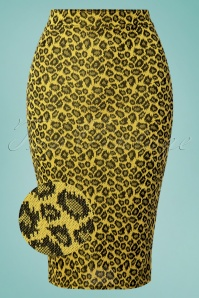 Charly Leopard Pencil Skirt Années 50 en Jaune Moutarde