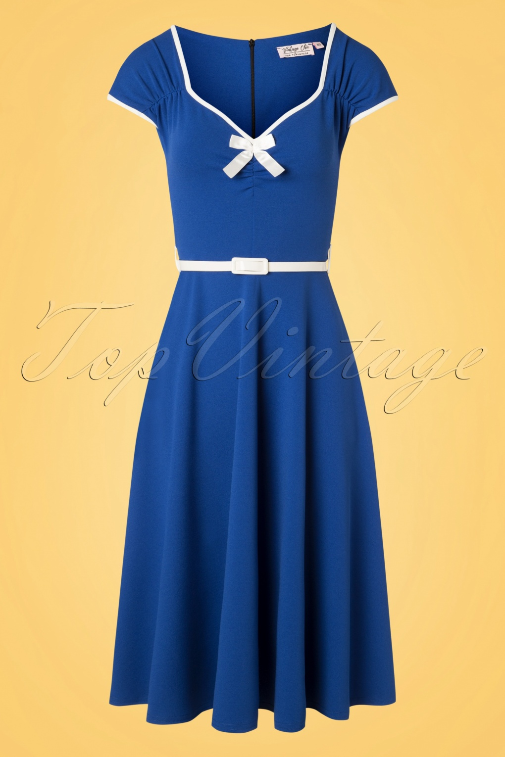 Sailor Dresses, Nautical Theme Dress, WW2 Dresses 50s Cindy Bow Swing Dress in Royal Blue £49.05 AT vintagedancer.com