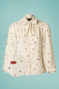 50s Lip Service Blouse in Cream