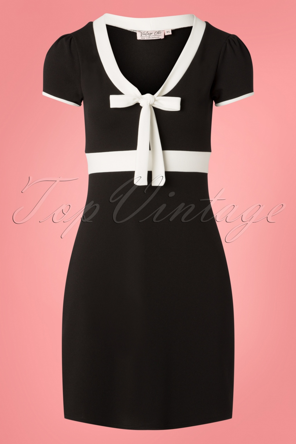 1960s Style Dresses, Clothing, Shoes UK 60s Terri A-Line Dress in Black and Ivory £43.56 AT vintagedancer.com