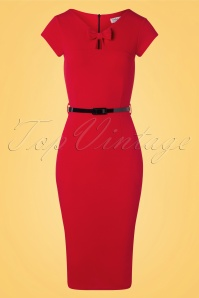 Vintage Chic for TopVintage 50s Becka Bow Pencil Dress in Deep Red