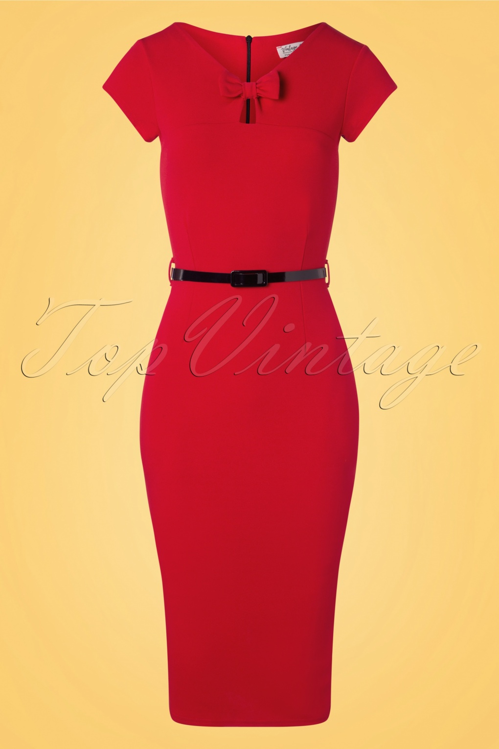 Sailor Dresses, Nautical Theme Dress, WW2 Dresses 50s Becka Bow Pencil Dress in Deep Red £53.51 AT vintagedancer.com