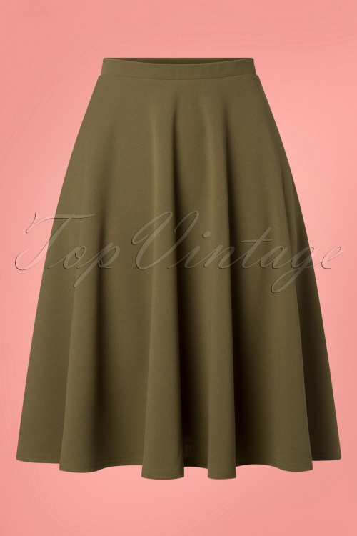 Vintage Chic 28729 50s Sheila Olive Green Skirt 20190108 001W