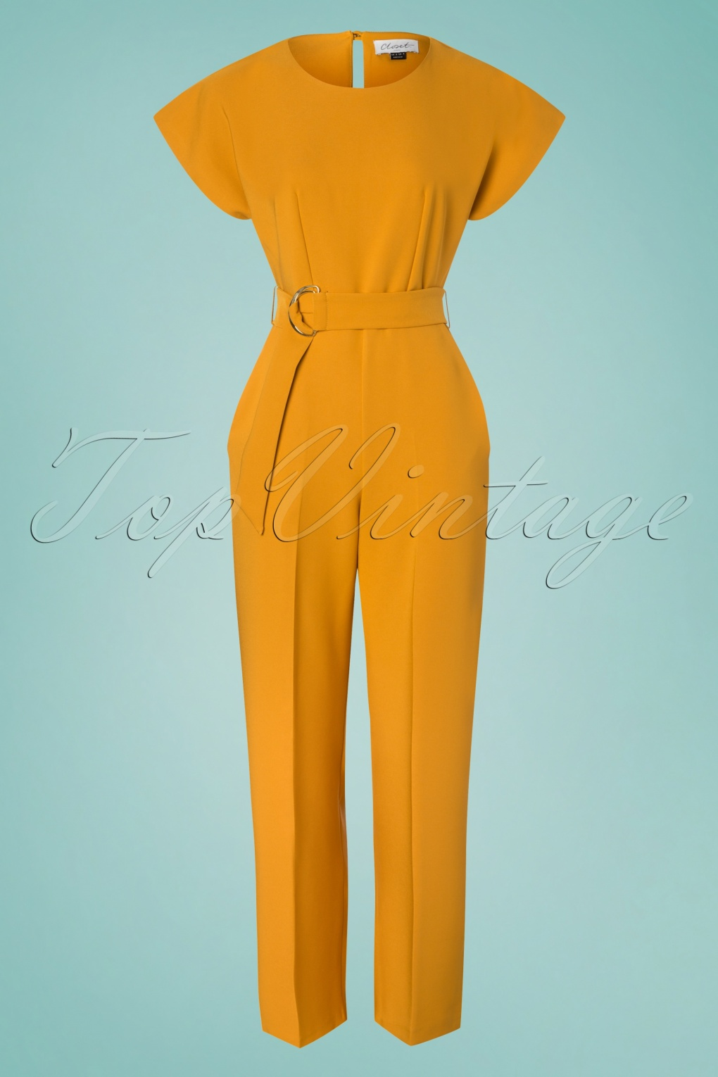 Vintage High Waisted Trousers, Sailor Pants, Jeans 70s Kiki Kimono Jumpsuit in Mustard £82.81 AT vintagedancer.com